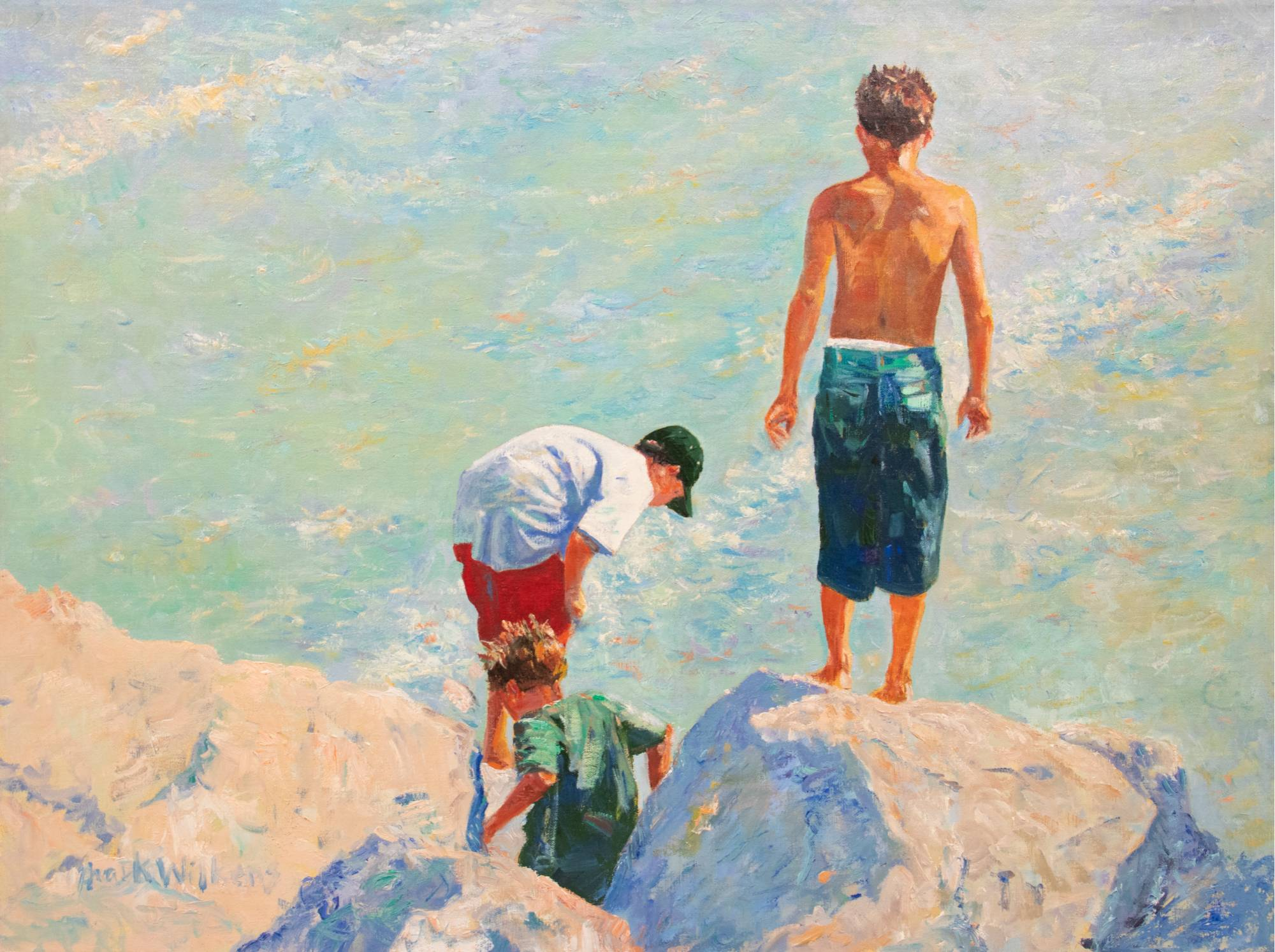 An art piece that features three young boys standing on rocks overlooking the water.